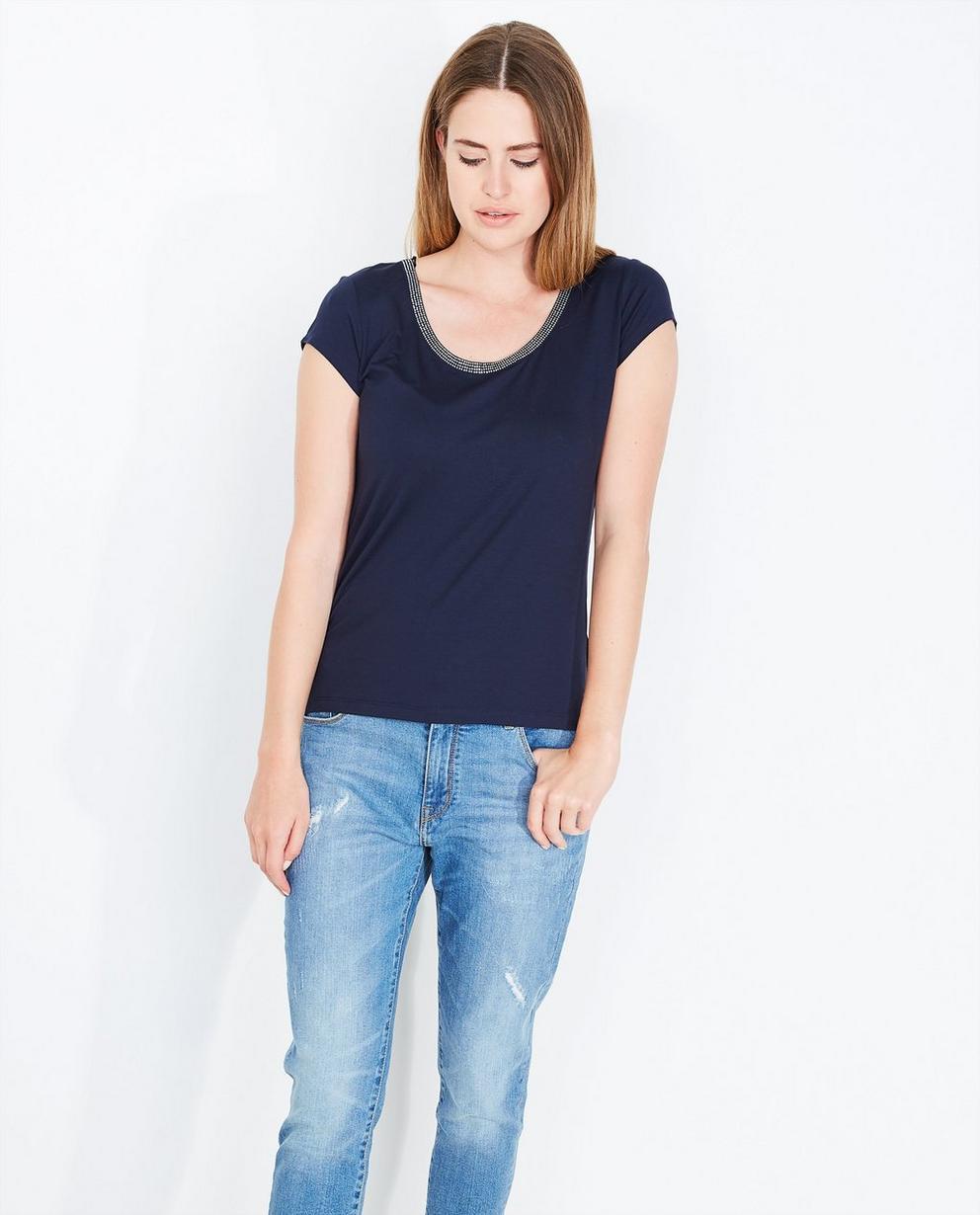 T-shirt met strass - in marineblauw - JBC